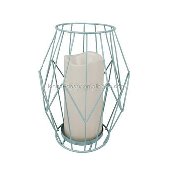 Led candle holder,blue iron wire candle holder no flame