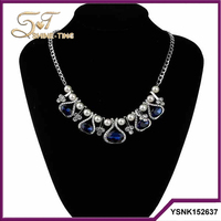 China Yiwu wholesale pearl blue sapphire fashion necklace 2016