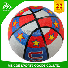Mingde factory custom colorful rubber basketball ball