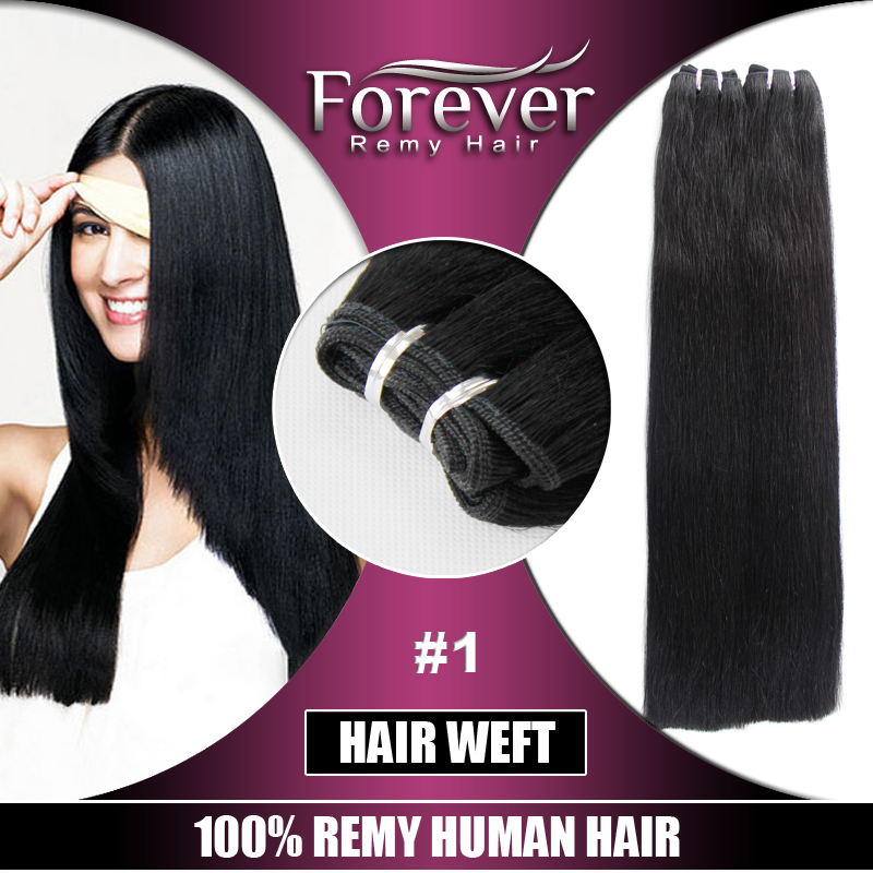 Forever hair brand 100% remy 8a indian straight cheap human hair weft