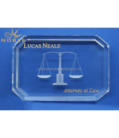Unique Laser Cut Justice Oblong Gem Cut Crystal Paperweight