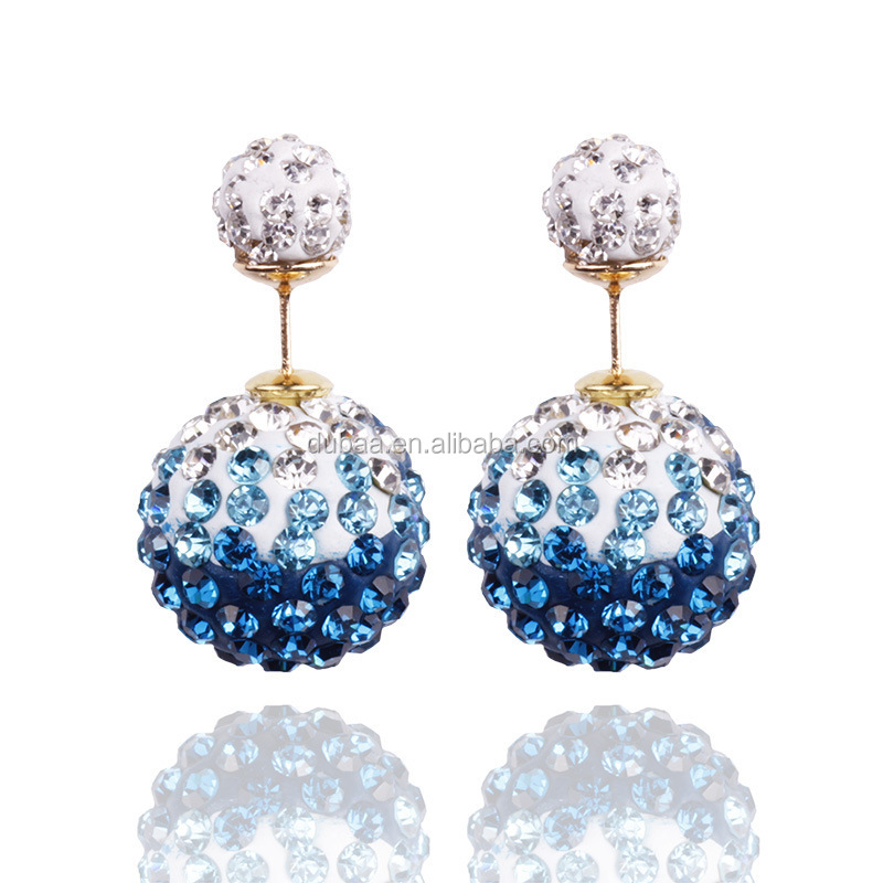 More 10 Colors Option Retro Charming Trendy Lady Double Sided Disco Ball Stud Earring,Doble Pendiente