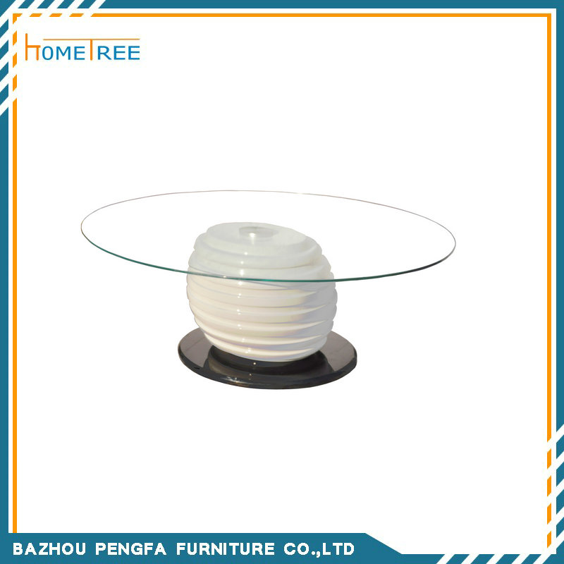 Round white marble Coffee table HTCO-63