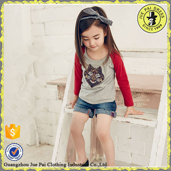Hot Sale Of Cotton On Kids Wear ,Embroidered Desige Shirt For Girls Sleeve Long T-Shirt