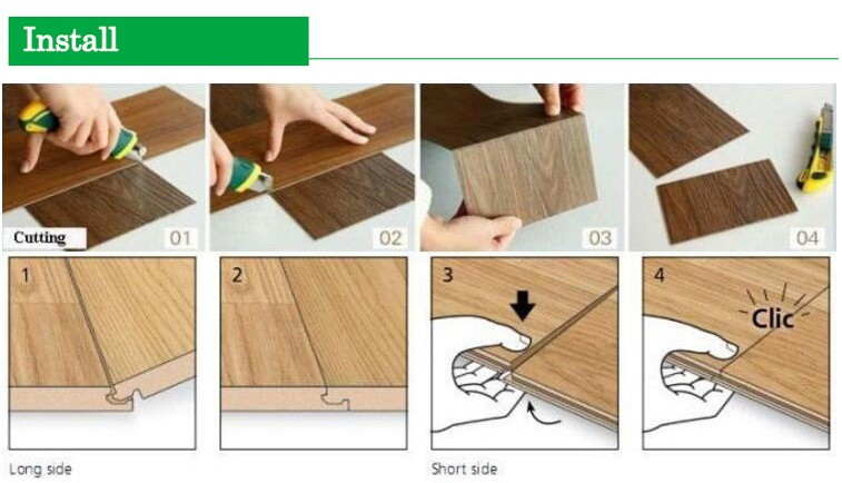 Wood texture virgin material SPC Waterproof click vinyl flooring
