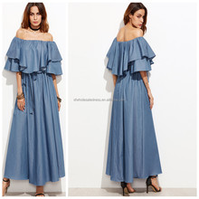 Ladies Ruffled Neck Off The Shoulder Short Sleeve Blue Color Tie Waist Long Maxi Denim Dress