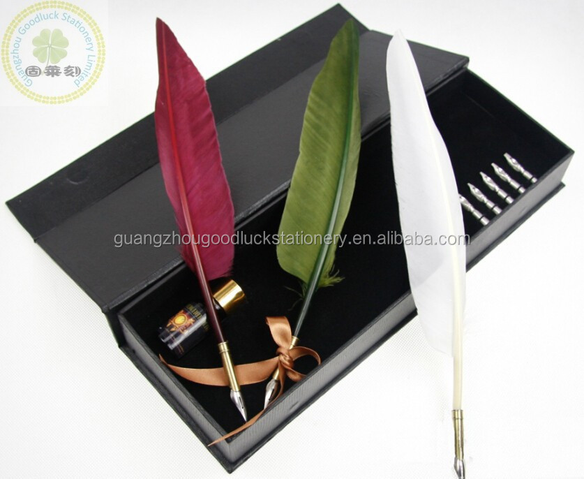 Best-selling Natural Ostrich Feather Quill Pen/Best Wedding Gift Feather Fountain Pen Set