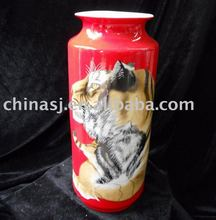 Ceramic Decoration red Vase with tiger painted WRYHJ04