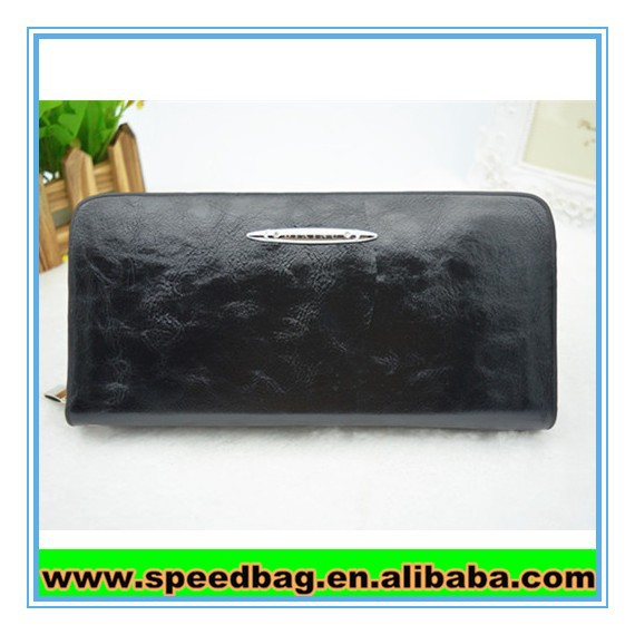 Shiny Black leather with top zipper wallet the lady use leather wallet india