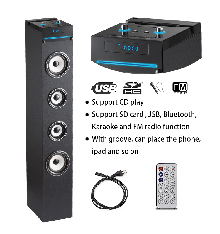 30W karaoke wireless tower CD boombox with Microphone function