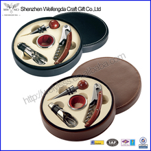 High Quality Attractive Design Round PU Leather Red Wine Bar Set