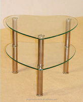 two shelf heart shape clear glass coffee or side table