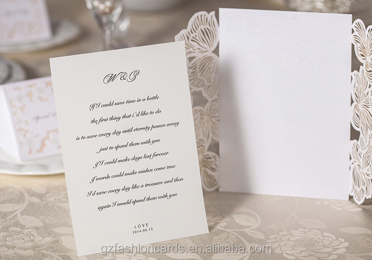 2015 Latest Design Elegant Cheap European Laser Wedding Card
