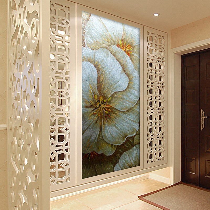 SMM04 high quality glass mosaic tile 3d flower pictures chinese wallpaper mural wall mural artist