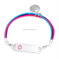 Fashionable lucky and love charm rubber medical bracelet
