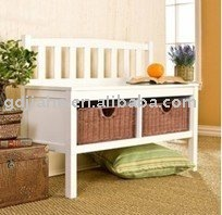 Hot!!! Home Style sitting Storage Bench with Basket