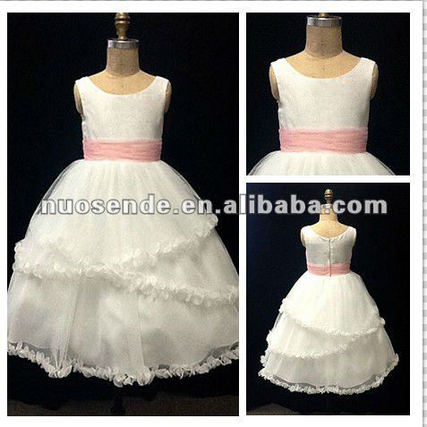 Cheap Pink lovely Flower Girl Dresses ball gowns for children kids evening gowns kids dresses for weddings with sash
