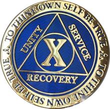 Recoverychip 10 Year Reflex Blue Gold Plated AA Medallion Alcoholics Anonymous Sobriety Chip