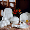 Haonai Chinese style home supplies ceramic/bone china bowl+plate+spoon dinnerware set bone china dinner set
