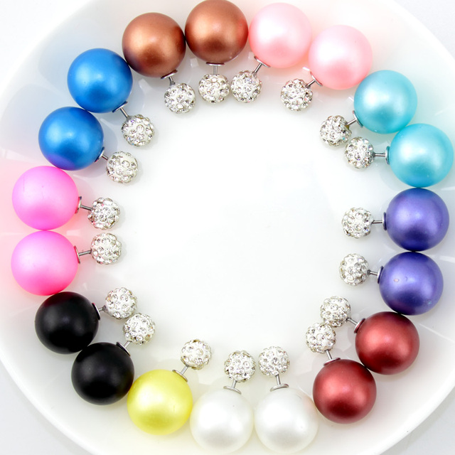 10 Pairs/lot  High Quality Fashion Jewelry New Style Cheap Double Beads Stud Earrings in Jewelry for Women