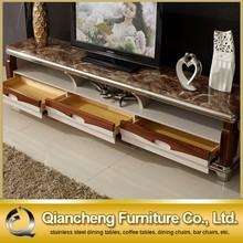 Classic wooden led tv stand furniture with showcase marble top