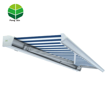 Outdoor electric rain and sun retractable awning full cassette folding arm awning