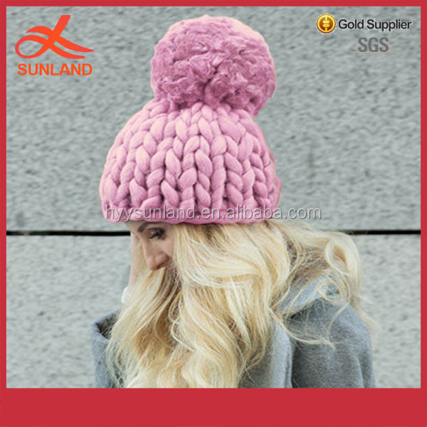 Fashion beanie ball hats winter wool hats chunky knit pompom caps