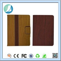 Hot selling card slots wood skin wallet flip leather cover case for ipad air