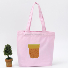 Pink cheap standard size cotton tote bag/Brand shopping tote bag printing