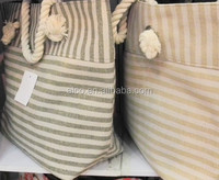 Simple stripe canvas beach tote bag wholesale for women