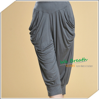 Bamboo Fiber Ladies Spring Summer Capri pants pleated leg sides