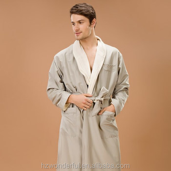 smoke double layer microfiber with terry in lining shawl collar mens microfiber bathrobe also can for couples pajamas