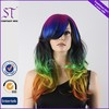 Hot Selling China Factory Wholesale Halloween Party Synthetic Wigs Long Wavy Highlighted Multi-Color Hair Wig