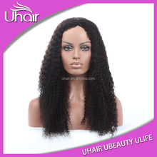 Fast delivery beautiful full cuticles tangle free full lace human hair wig