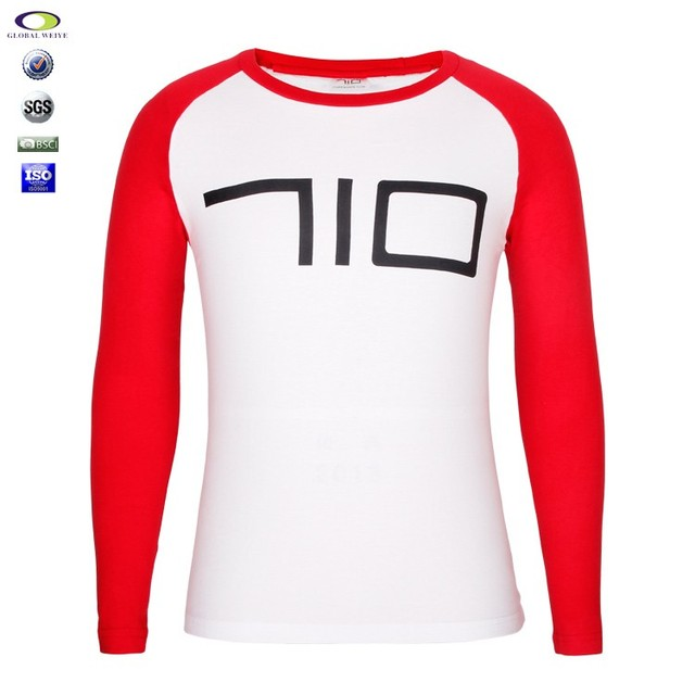 Basic mens long sleeve softextile white custom printing tshirt bulk