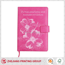 lovely pink silk printing pu cover notebook for ladies