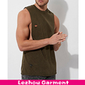 Distressed slim fit workout longline drop armhole tank top