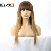 Beautiful Ombre Color 100 Real Malaysian Virgin Human Hair Silky Straight Full Lace Wig 18 Inches