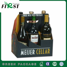 Top quality strong hard thick cardboard carrier box for 6 bottles packaging for wine beer juice with customized logo printing