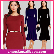 Wholesale slim simple stylish long-sleeved fishtail party dress women