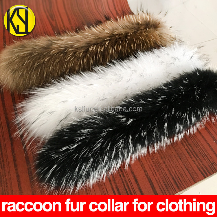 factory sells natural raccoon hair removable collar for clothing whole piece of real raccoon fur on hat 80*15cm