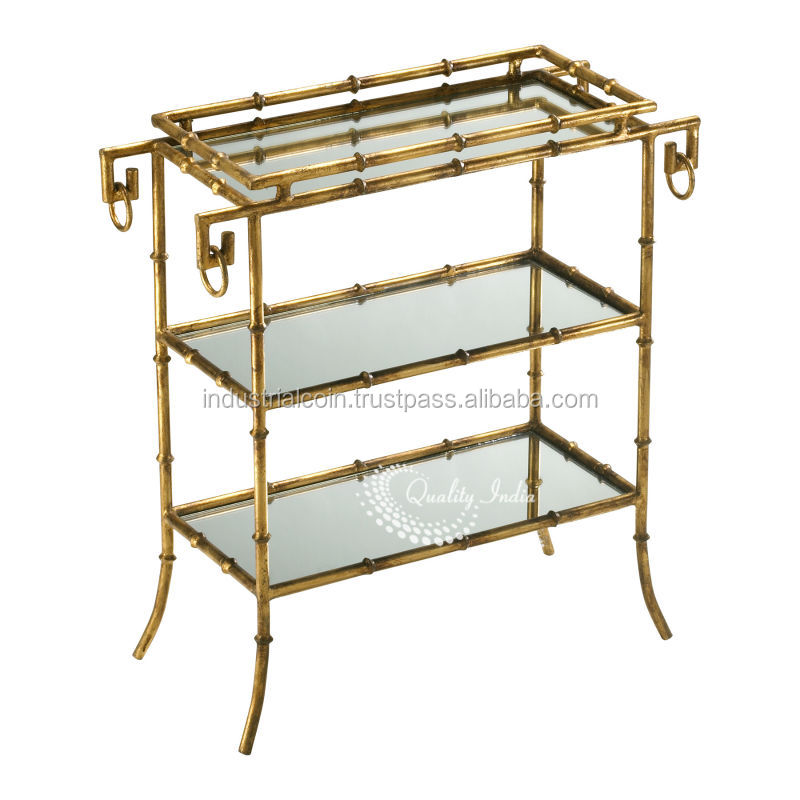 Metallic Three Glass Shelves Serving Table