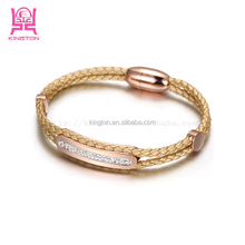 fashion stainless steel bio magnetic leather bracelet