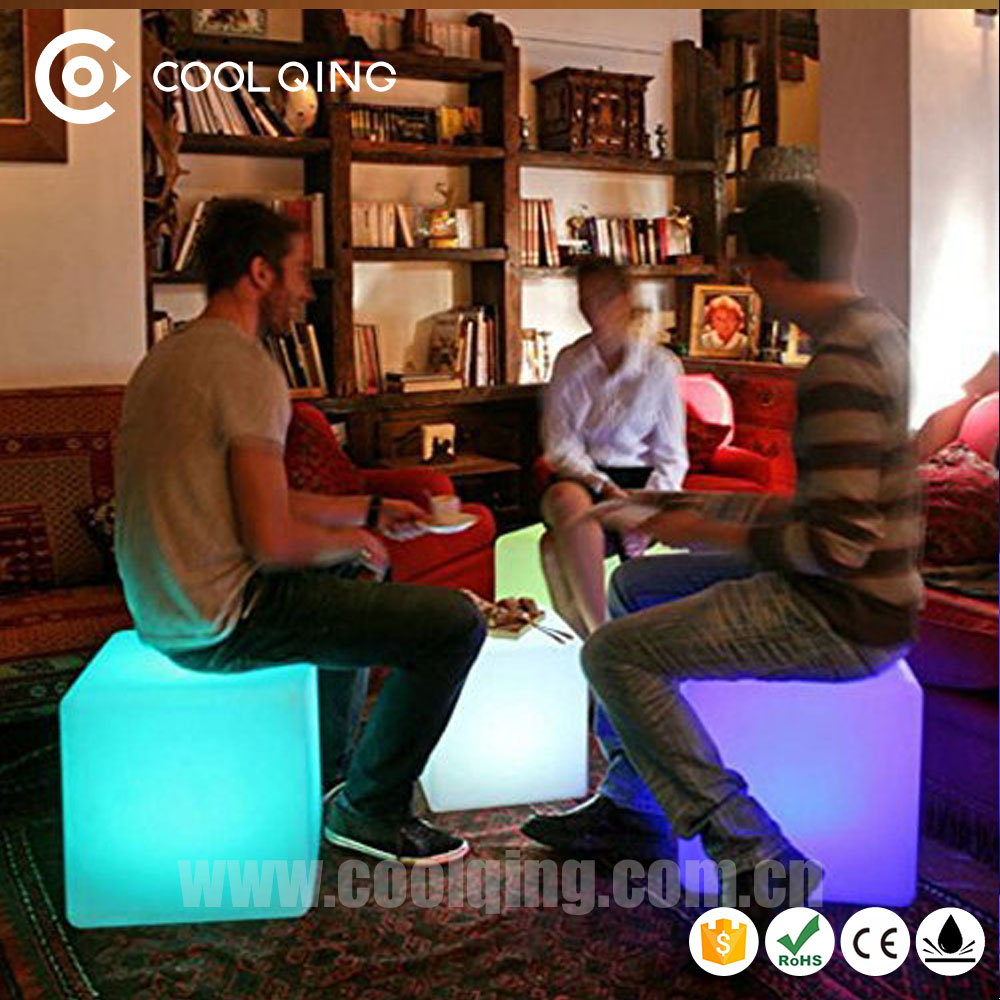 Free shipping CE RoHS FCC Event / Party illuminated Colorful Light Up Led Cube Chair