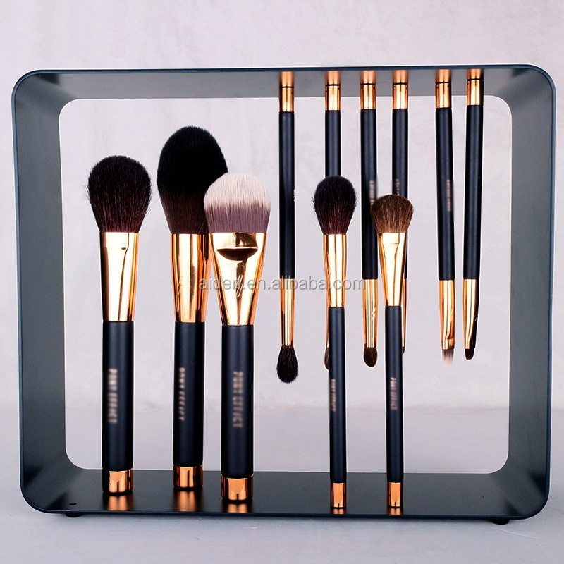 AIDEN-2017 Latest in market magnet make up brushes rose gold makeup brushes ,factory 11pcs pony magnet stand brush
