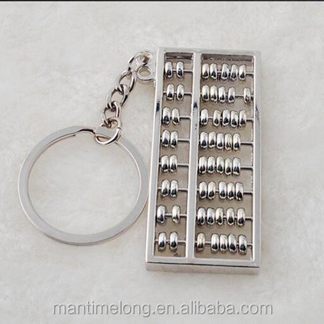Creative eight stalls abacus keychain metal key chain zinc alloy key ring shape calculator