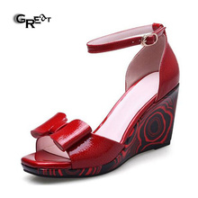 Free Shipping Women Shoes Ankle Strap Wedge Sandals Bowknot Design Flat Dress Shoes For Ladies