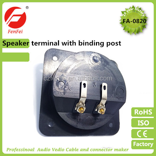 Speaker Terminal Bind Post & Panel Sockets with binding post red black square