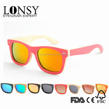 2016 Hot Sell Recyclable Red Bamboo Sunglass With Natural Bamboo Color Inside Sunglasses LS1001-C13