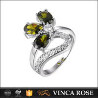 Deep green stone pave 18k white gold engagement ring ring wholesale Alibaba
